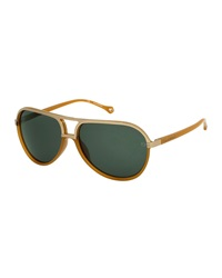 Ermenegildo Zegna Round Plastic Aviator Sunglasses Butterscotch Green
