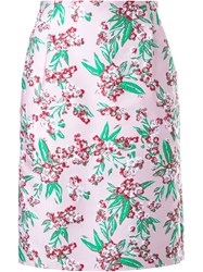Jonathan Saunders Floral Jacquard 'Sylvia' Skirt Pink And Purple