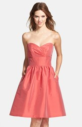 Women's Alfred Sung Strapless Satin Fit And Flare Dress Firecracker