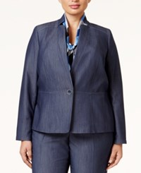 Nine West Plus Size One Button Denim Blazer Navy