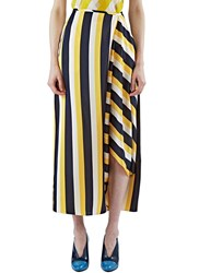Stella Mccartney Long Asymmetric Striped Skirt Yellow