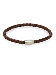Jan Leslie Braided Leather And Stainless Steel Bracelet No Color