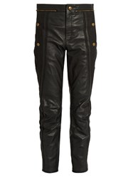 Chloe Cropped Leather Trousers Black