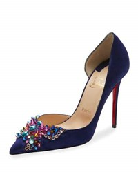 Christian Louboutin Embellished Half D'orsay Red Sole Pump Encre