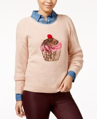 Hooked Up By Iot Juniors' Sequin Cupcake Graphic Sweater Pink Dust Combo