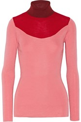 Issa Color Block Wool And Silk Blend Turtleneck Sweater Pink