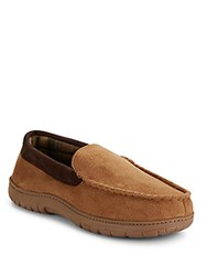 Saks Fifth Avenue Microsuede Insulated Slippers Tan
