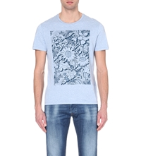 Ted Baker Floral Graphic Cotton T Shirt Light Blue