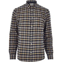 River Island Mens Mustard Yellow Check Flannel Shirt
