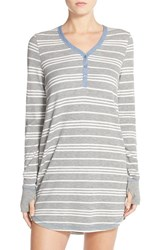 Women's Pj Salvage Thermal Knit Sleep Shirt Heather Grey Stripe