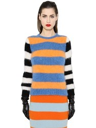 Max Mara Striped Mohair And Wool Knit Sweater