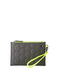 Neiman Marcus Honeycomb Colorblock Wristlet Pouch Gray Neon Yellow