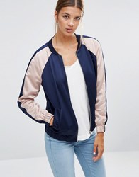 New Look Colour Block Sateen Bomber Blue Pattern