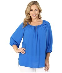 Vince Camuto Plus Size 3 4 Sleeve Shirred Neck Peasant Blouse Poolside Women's Blouse Blue