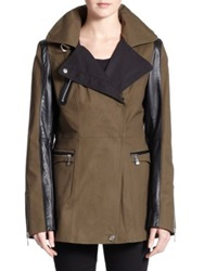 Dawn Levy Chase Leather Detail Jacket Green