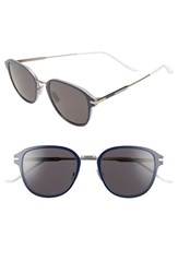 Christian Dior Men's Homme 55Mm Wire Sunglasses Metallic Silver Blue Metallic Silver Blue