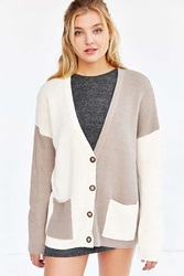 Bdg Slouchy Colorblock Cardigan Taupe