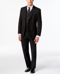 Andrew Marc New York Marc New York By Andrew Marc Slim Fit Black Tonal Stripe Vested Suit