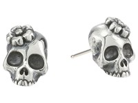 King Baby Studio Sakura Skull Stud Earrings Silver Earring