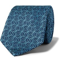 Turnbull And Asser 8Cm Silk Jacquard Tie Navy