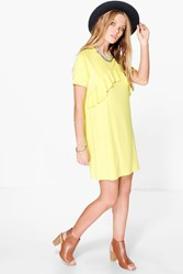 Boohoo Ruffle Front T Shirt Dress Lemon
