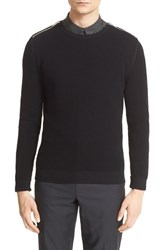 Men's The Kooples Zip Shoulder Cotton Crewneck Sweater
