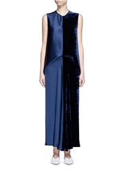 Stella Mccartney Satin And Velvet Colourblock Midi Dress Blue