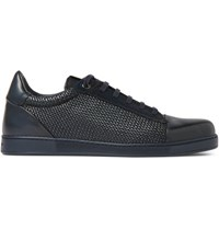 Ermenegildo Zegna Pelle Tessuta Leather Sneakers Storm Blue