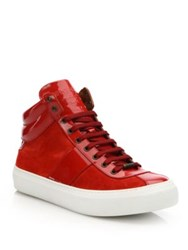 Jimmy Choo Suede And Patent Leather High Top Sneakers