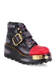 Prada Lug Sole Buckle Leather Wedge Booties Black Multi