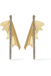 Giles And Brother Gold Plated Crystal Earrings Metallic