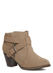 Evans Extra Wide Fit Buckle Zip Ankle Boots Beige