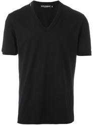 Dolce And Gabbana V Neck T Shirt Black