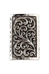 Lois Hill Sterling Silver Repousse Rectangular Cocktail Ring Size 7 Metallic