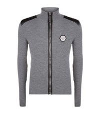 Philipp Plein Leather Detail Ribbed Cardigan Male Grey