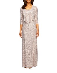 Alex Evenings Petite Lace Gown And Jacket Set Champagne Ivory