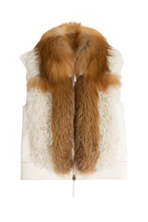 Roberto Cavalli Leather Vest With Shearling And Fox Fur White
