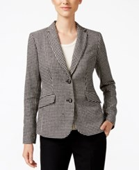 Charter Club Houndstooth Two Button Blazer Only At Macy's Deep Black Combo