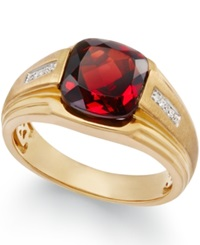 Macy's Men's Garnet 5 Ct. T.W. And Diamond Accent Ring In 10K Gold