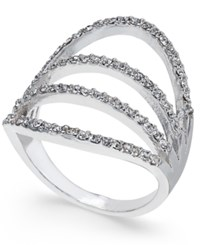 Inc International Concepts Silver Tone Pave Quad Row Fan Ring Only At Macy's