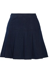 Diane Von Furstenberg Gemma Pleated Stretch Denim Mini Skirt