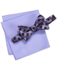 Alfani Men's Mars Gingham Bow Tie And Solid Pocket Square Set Only At Macy's Purple