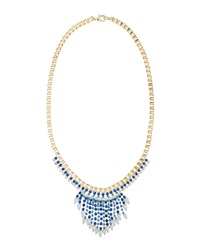 Fragments For Neiman Marcus Fragments Two Tone Crystal Tapered Fringe Bib Necklace Blue White
