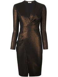 Ungaro Emanuel Long Sleeve Wrap Dress Metallic