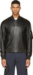 Mcq By Alexander Mcqueen Black Leather Bomber Jacket
