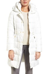 Via Spiga Women's Belted Puffer Coat Snow White