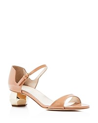 Frances Valentine Bella Sculpted Mid Heel Sandals Nude