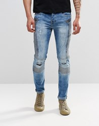 Sixth June Skinny Biker Jeans With Distressing Blue