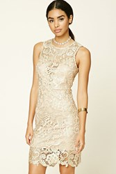 Forever 21 Metallic Floral Bodycon Dress Gold Nude