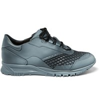Lanvin Spray Paint Effect Mesh And Leather Sneakers Charcoal